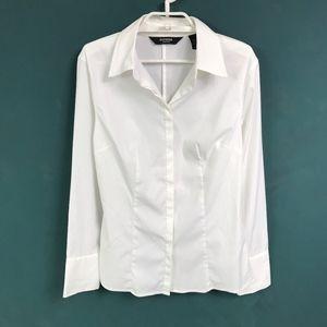 Express Stretch White Button Down Shirt Size 7/8